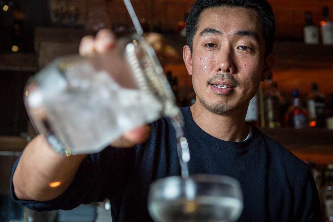 Kenta Goto doing a Sakura Martini at Bar Goto in New York